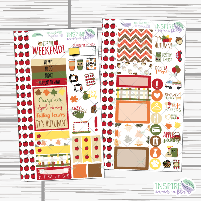 Orchard Visit Personal Sized Weekly Kit ~ Planner Stickers