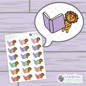 Open Book Zion the Lion ~ Hand Drawn Reading Character ~ Petite Collection ~ Planner Stickers
