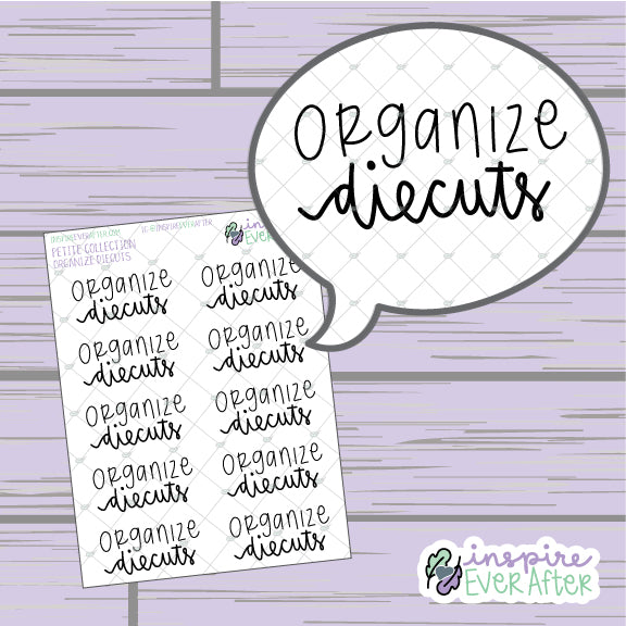 Organize Diecuts ~ Hand Lettered Planner Accessories Organization Scripts ~ Petite Collection ~ Planner Stickers