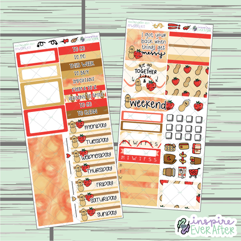 Peanut Butter & Strawberry Jelly PPWeeks Weekly Kit ~ Hand Drawn Foodie Couple ~ Functional Planner Stickers
