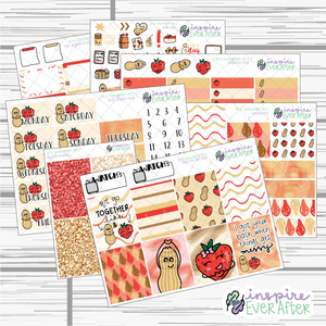 Peanut Butter & Strawberry Jelly Weekly Kit ~ Hand Drawn Foodie Stickers ~ Planner Stickers