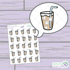Hand Drawn Iced Drink ~ Petite Collection ~ Planner Stickers
