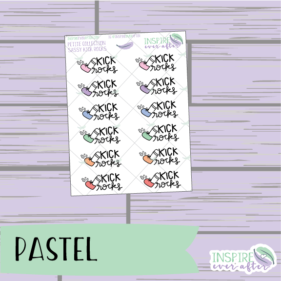 Kick Rocks ~ Pastel, Bright, OR Neutral ~ Hand Drawn Sassy Petite Collection ~ Planner Stickers