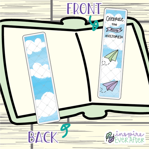 Celebrate the Tiny Victories Paper Plane Bookmark ~ Hand Drawn Positive Affirmation Inspired Bookmarks ~ Planner & Book Accessories
