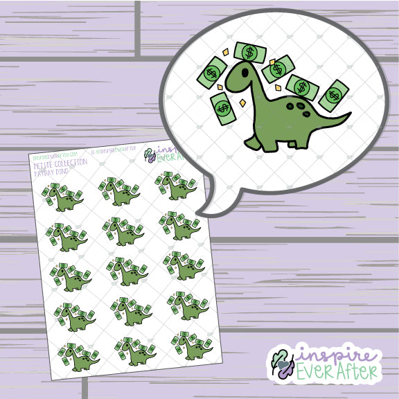 Payday Dino ~ Hand Drawn Animal Doodle ~ Petite Collection ~ Planner Stickers