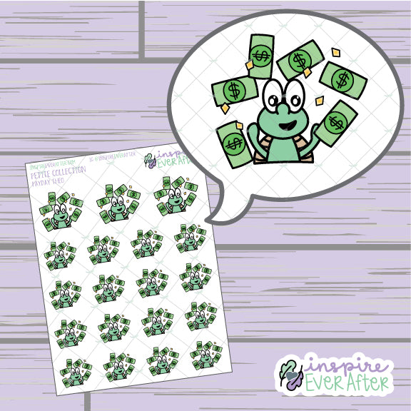 Payday Theo the Turtle ~ Hand Drawn Character Icon ~ Petite Collection ~ Planner Stickers