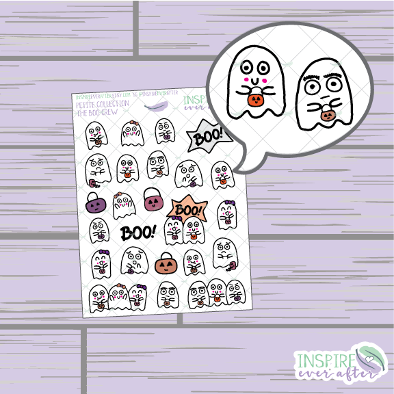 The Boo Crew Hand Drawn Deco Sheet ~ Petite Collection ~ Planner Stickers
