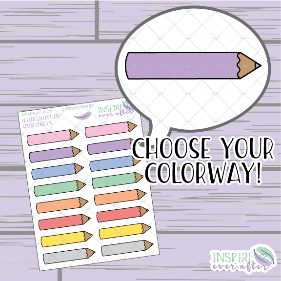 Color Pencils ~ Choose Your Color Way! ~ School/Work Icons ~ Petite Collection ~ Planner Stickers