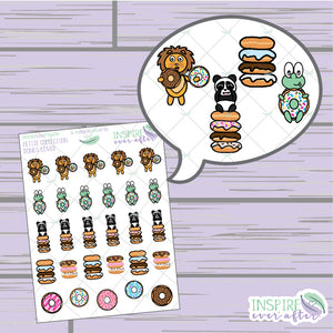 Donut Lover ~ Hand Drawn Character Food Icons ~ Petite Collection ~ Planner Stickers