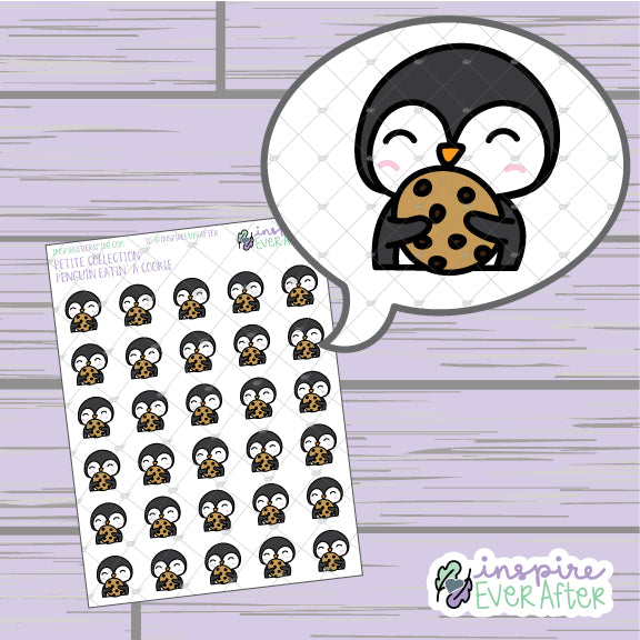 Penguin Eatin' Cookie ~ Hand Drawn Animal Foodie Doodle ~ Petite Collection ~ Planner Stickers