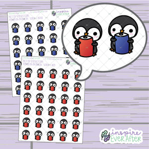 Penguin Drinkin' Soda ~ Choose Your Can! ~ Hand Drawn Animal Beverage Doodle ~ Petite Collection ~ Planner Stickers