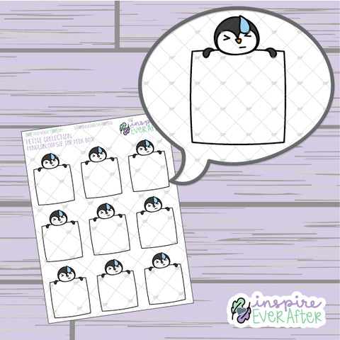 Oopsie Penguin Top Peek Box ~ Hand Drawn Animal Doodle ~ Petite Collection ~ Planner Stickers