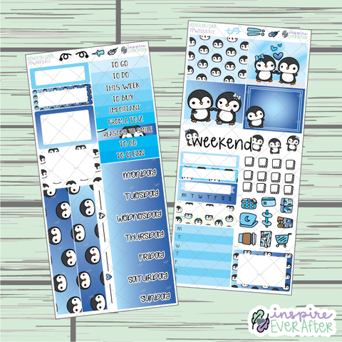 Penguin Love PPWeeks Weekly Kit ~ Hand Drawn Kit ~ Functional Planner Stickers