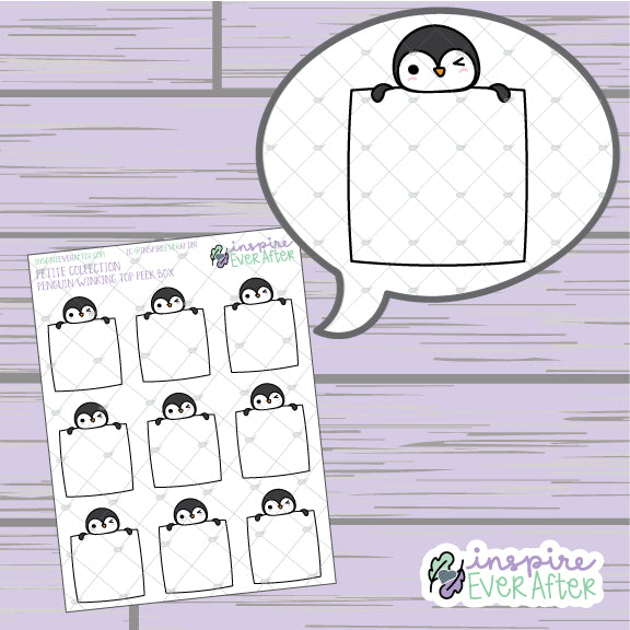 Winky Penguin Top Peek Box ~ Hand Drawn Animal Doodle ~ Petite Collection ~ Planner Stickers