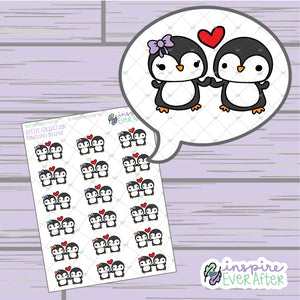 Penguins in Love ~ Hand Drawn Animal Couple Doodle ~ Petite Collection ~ Planner Stickers
