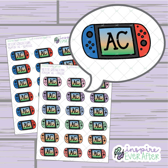 Playin' AC ~ Classic OR Pastel ~ Hand Drawn Video Game Icon ~ Petite Collection ~ Planner Stickers