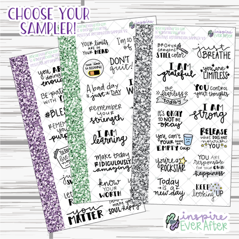 Positive Affirmation Samplers ~ Choose Your Sampler! ~ Hand Drawn Positive Affirmation Stickers ~ Planner Stickers