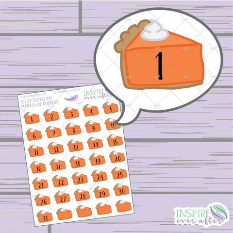 Pumpkin Pie Slice Numbers/ Date Covers/ Countdown ~ Hand Drawn Petite Collection ~ Planner Stickers