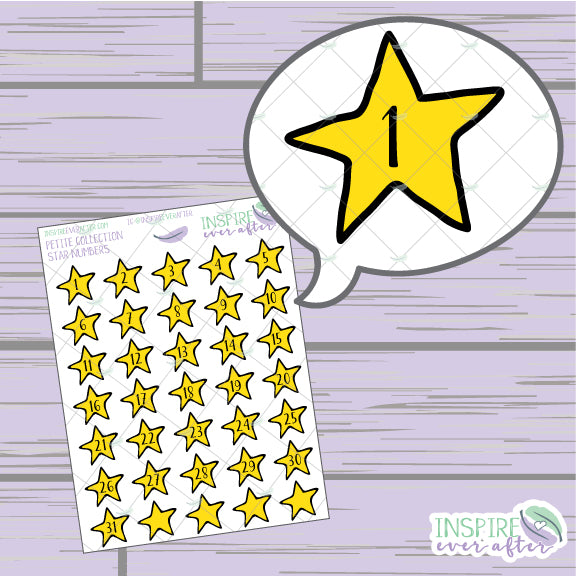 Star Numbers/ Date Covers/ Countdown ~ Hand Drawn Petite Collection ~ Planner Stickers