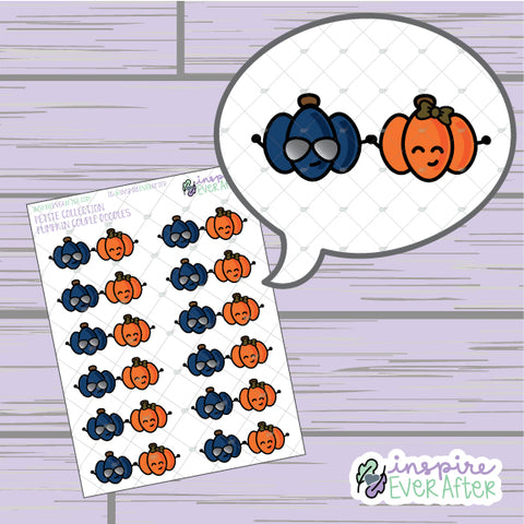 Pumpkin Couple Doodles ~ Hand Drawn Seasonal Fall Doodle ~ Petite Collection ~ Planner Stickers