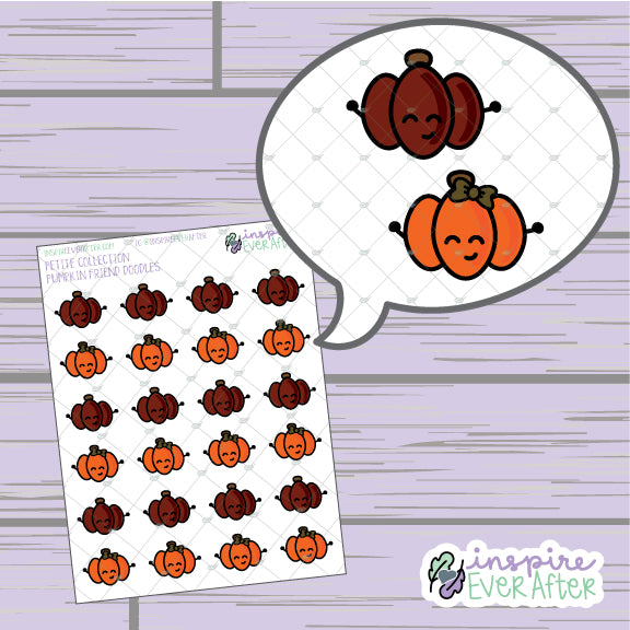 Pumpkin Friend Doodles ~ Hand Drawn Seasonal Fall Doodle ~ Petite Collection ~ Planner Stickers