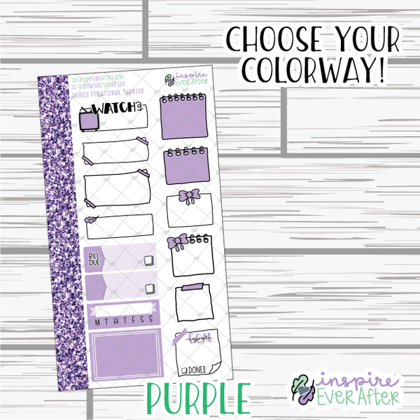 Functional Samplers ~ Choose Your Colorway! ~ Hand Drawn Functional Stickers ~ Planner Stickers