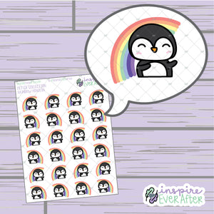 Rainbow Penguin ~ Hand Drawn Happy Animal Doodle ~ Petite Collection ~ Planner Stickers