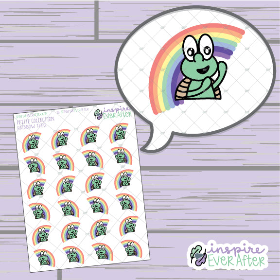 Theo The Turtle Rainbow ~ Hand Drawn Happy Character ~ Petite Collection ~ Planner Stickers