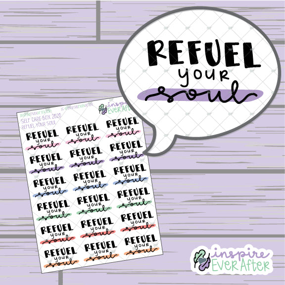 Refuel Your Soul ~ Hand Drawn Positive Affirmation ~ Petite Collection ~ Planner Stickers