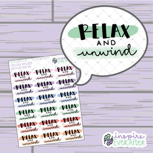 Relax and Unwind ~ Hand Drawn Positive Affirmation ~ Petite Collection ~ Planner Stickers
