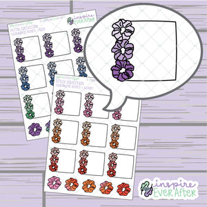 Scrunchie Boxes ~ Warm OR Cool ~ Hand Drawn Functional 90s Things ~ Petite Collection ~ Planner Stickers