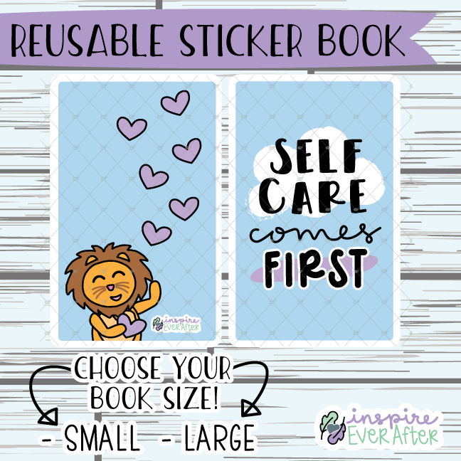 Self Care Comes First Reusable Sticker Book ~ Hand Drawn Reusable Sticker Book ~ Planner Storage & Accessories