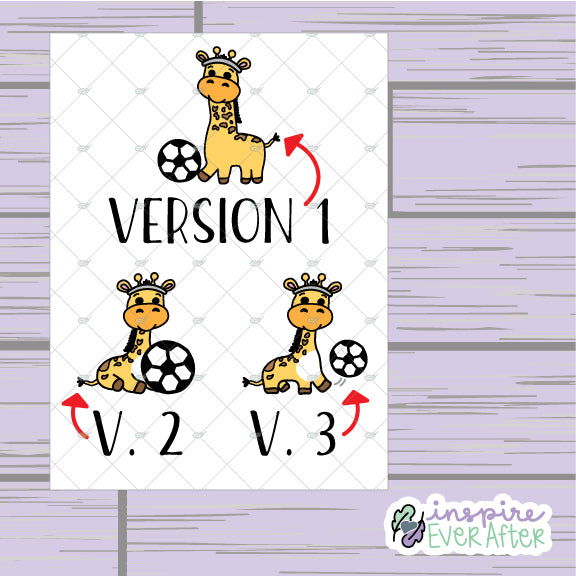 Giraffe Playin' Soccer ~ Choose Your Sheet! ~ Hand Drawn Animal Doodles ~ Petite Collection ~ Planner Stickers