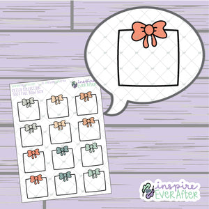 Soft Fall Bow Box ~ Hand Drawn Seasonal Functional ~ Petite Collection ~ Planner Stickers