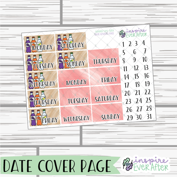 Summer Sips: Soda Weekly Kit ~ Hand Drawn Beverage Stickers ~ Planner Stickers