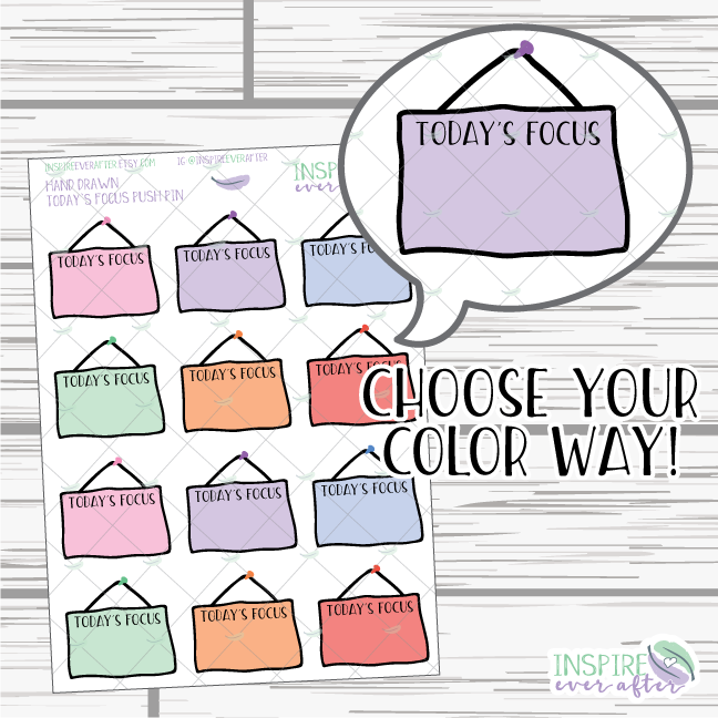 Today's Focus Push Pin Hanging Sign ~ Choose Your Color Way ~ Hand Drawn Icon ~ Planner Stickers