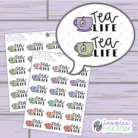 Tea Life ~ Green Tea OR Pastel ~ Hand Drawn Beverage Doodle ~ Petite Collection ~ Planner Stickers