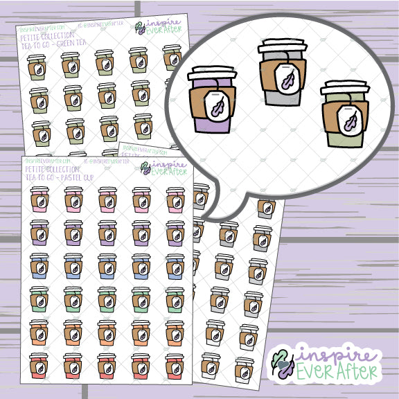 Tea To Go ~ Green Tea, Neutral OR Pastel ~ Hand Drawn Beverage Doodle ~ Petite Collection ~ Planner Stickers