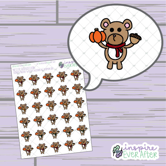Teddy Bear with Acorn and Pumpkin ~ Hand Drawn Seasonal Animal Doodle ~ Petite Collection ~ Planner Stickers
