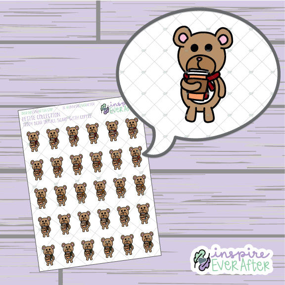 Teddy Bear in Fall Scarf with Coffee ~ Hand Drawn Seasonal Beverage Animal Doodle ~ Petite Collection ~ Planner Stickers