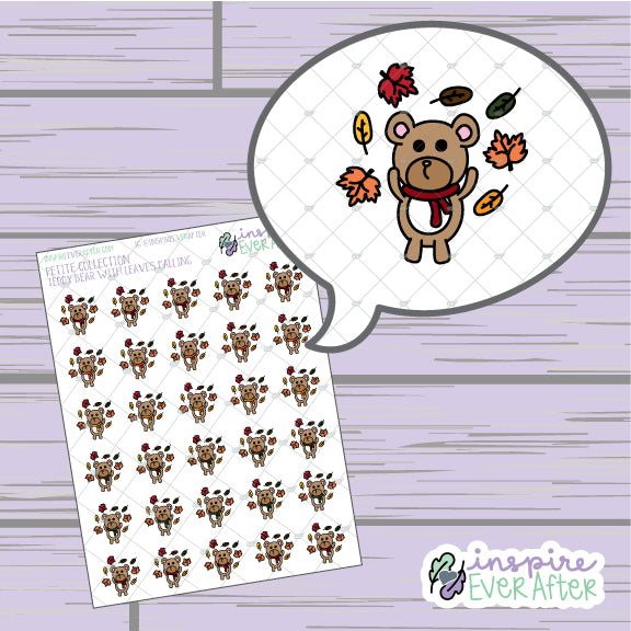 Teddy Bear with Falling Leaves ~ Hand Drawn Seasonal Animal Doodle ~ Petite Collection ~ Planner Stickers