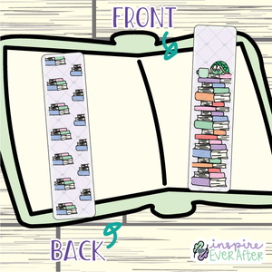 Theo the Turtle Bookstack Bookmark ~ Hand Drawn Reading Inspired Bookmarks ~ Planner & Book Accessories