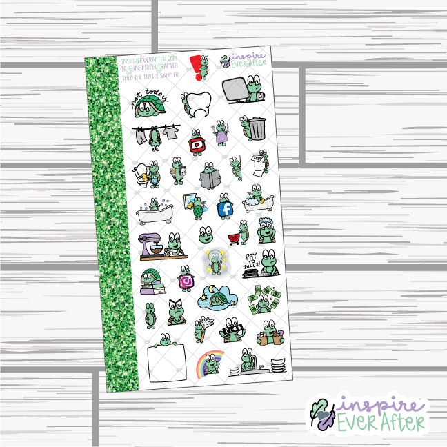 Theo the Turtle Sampler ~ Hand Drawn Character Stickers ~ Planner Stickers