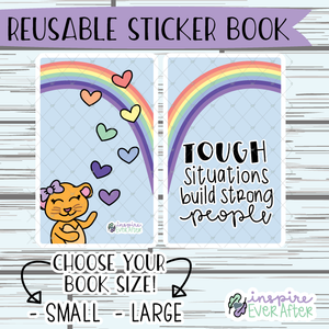 Tough Situations Build Strong People Luna the Lioness Reusable Sticker Book ~ Hand Drawn Reusable Sticker Book ~ Planner Storage & Accessories