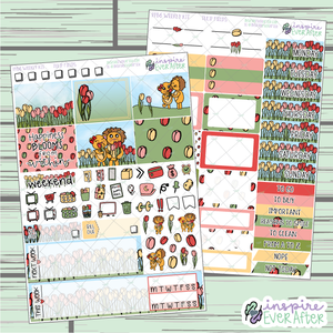 Tulip Fields PPB6 Weekly Kit ~ Hand Drawn Spring Time Floral ~ Functional Planner Stickers