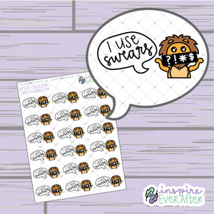 I Use Swears Zion the Lion ~ Hand Drawn Sassy Character ~ Petite Collection ~ Planner Stickers