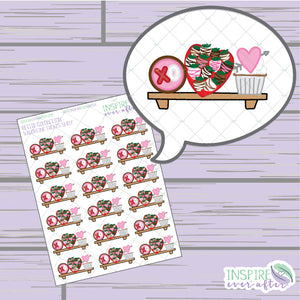 Valentine Treats Shelf ~ Hand Drawn Holiday Petite Collection ~ Planner Stickers