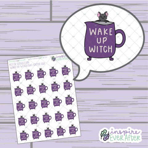 Wake Up Witch Coffee/ Tea Mug ~ Hand Drawn Seasonal Beverage Doodle ~ Petite Collection ~ Planner Stickers