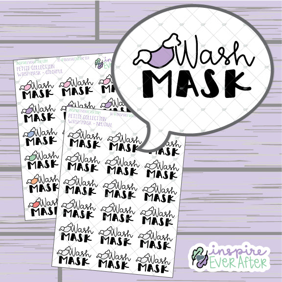 Wash Mask Doodle ~ Colorful OR Neutral ~ Hand Drawn Reminders ~ Petite Collection ~ Planner Stickers