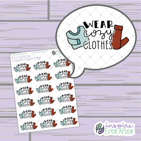 Wear Cozy Clothes Doodle ~ Hand Drawn Seasonal Fall Doodle ~ Petite Collection ~ Planner Stickers